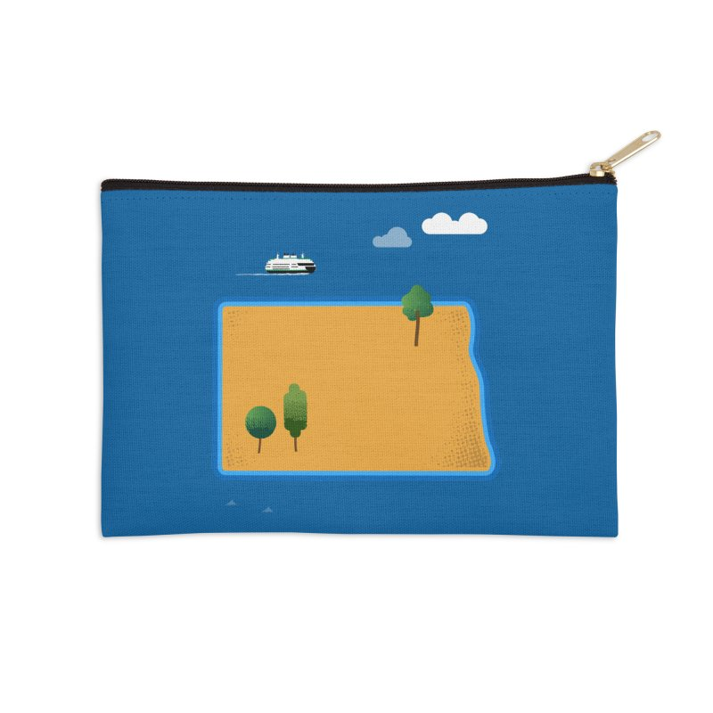 North Dakota Island Accessories Zip Pouch by Illustrations by Phil