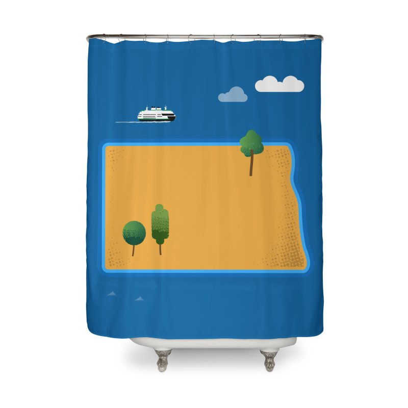North Dakota Island Home Shower Curtain by Illustrations by Phil