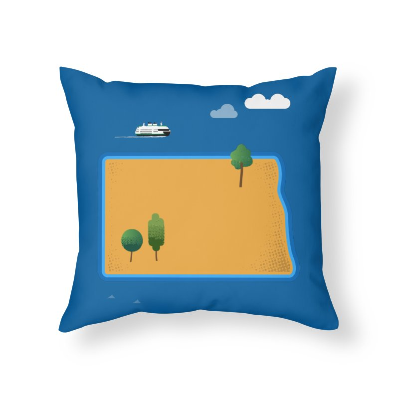 North Dakota Island Home Throw Pillow by Illustrations by Phil