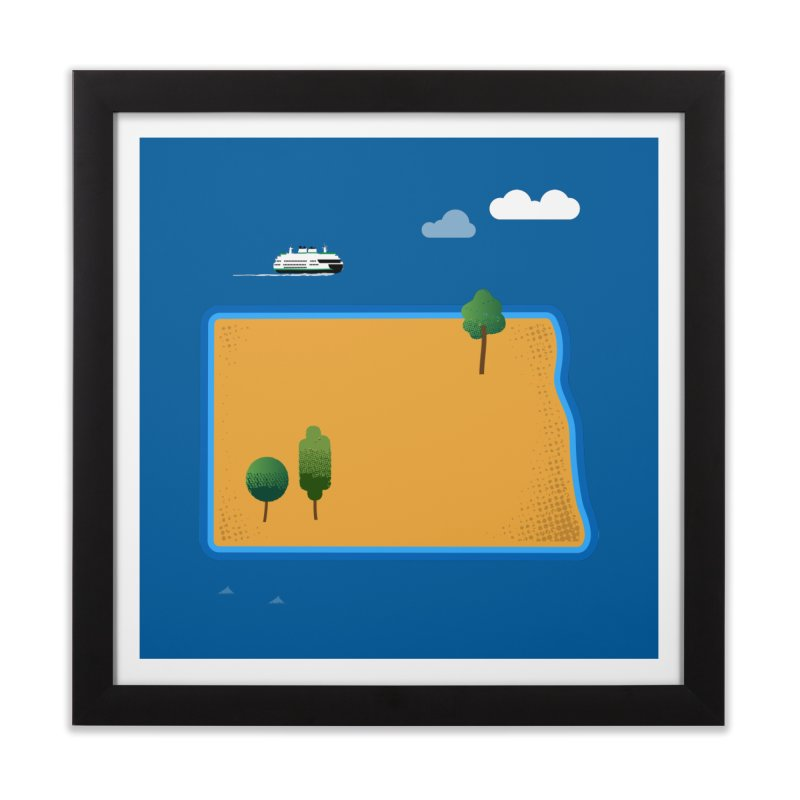 North Dakota Island Home Framed Fine Art Print by Illustrations by Phil