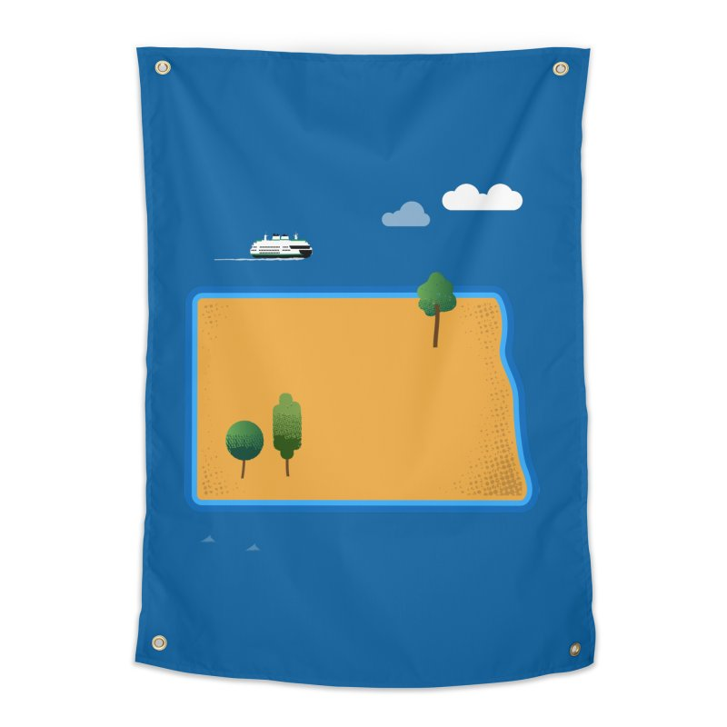 North Dakota Island Home Tapestry by Illustrations by Phil