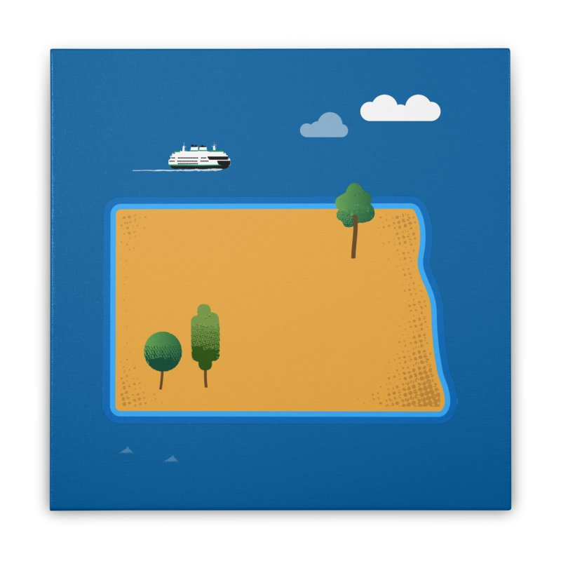 North Dakota Island Home Stretched Canvas by Illustrations by Phil
