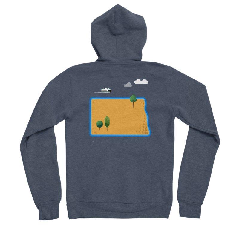 North Dakota Island Women's Sponge Fleece Zip-Up Hoody by Illustrations by Phil