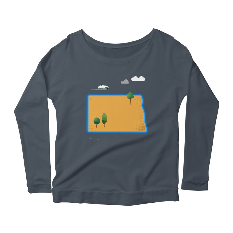 North Dakota Island Women's Scoop Neck Longsleeve T-Shirt by Illustrations by Phil