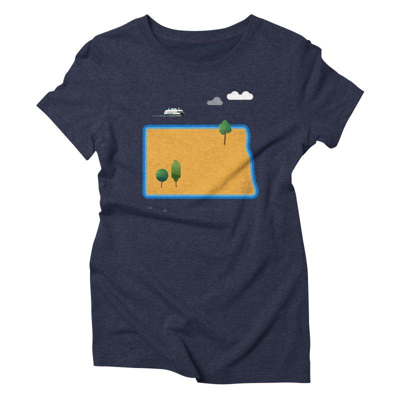 North Dakota Island Women's Triblend T-Shirt by Illustrations by Phil