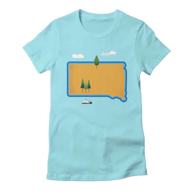 South Dakota island Women's Fitted T-Shirt by Illustrations by Phil