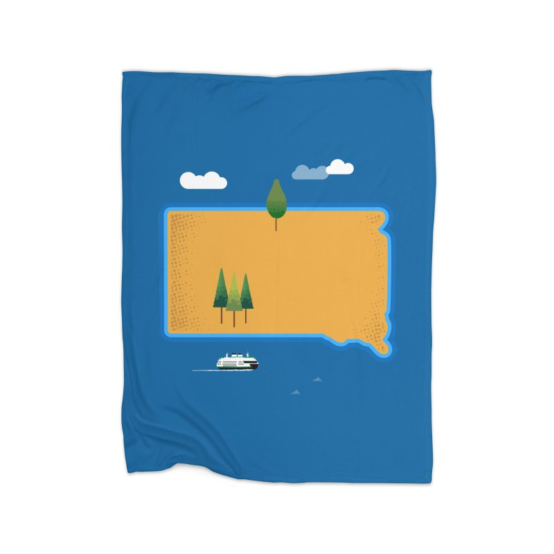 South Dakota island Home Blanket by Illustrations by Phil