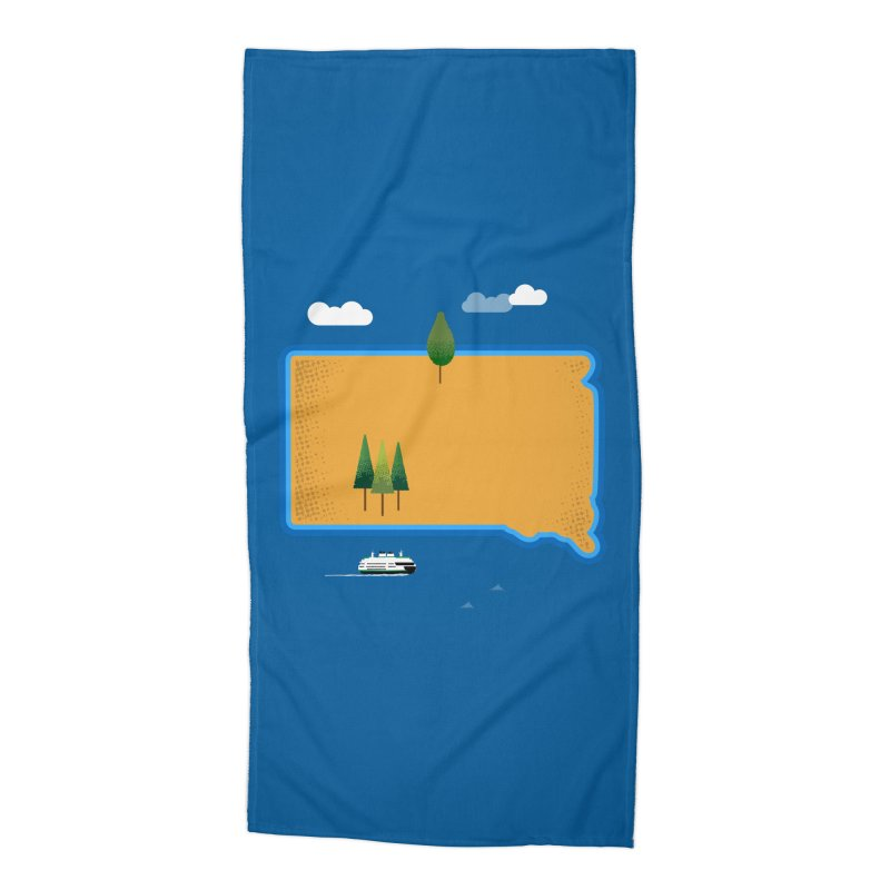 South Dakota island Accessories Beach Towel by Illustrations by Phil