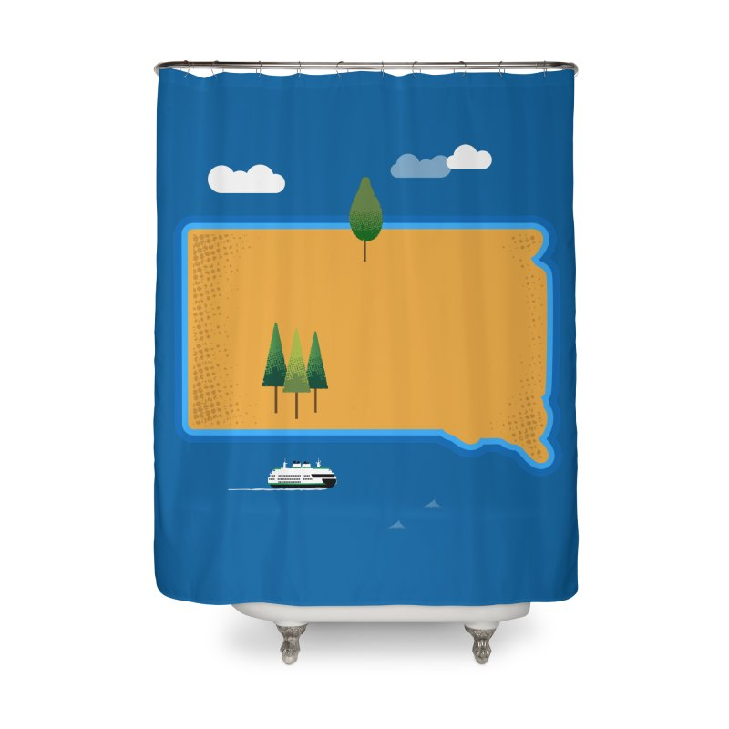 South Dakota island Home Shower Curtain by Illustrations by Phil