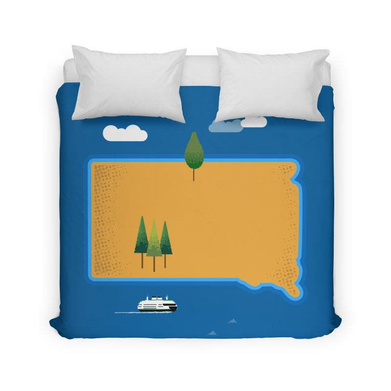 South Dakota island Home Duvet by Illustrations by Phil