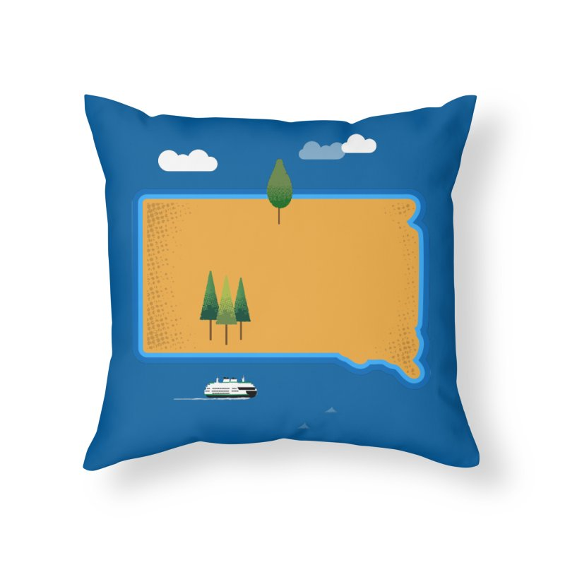 South Dakota island Home Throw Pillow by Illustrations by Phil