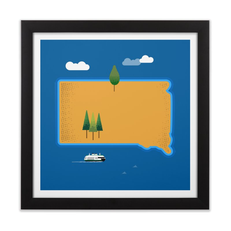 South Dakota island Home Framed Fine Art Print by Illustrations by Phil