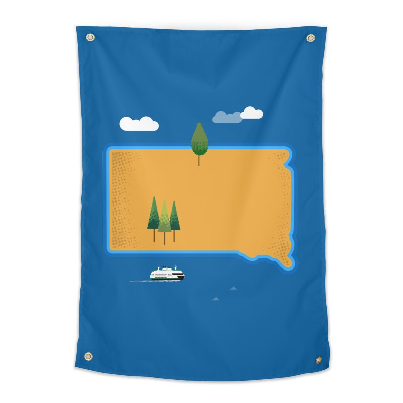 South Dakota island Home Tapestry by Illustrations by Phil