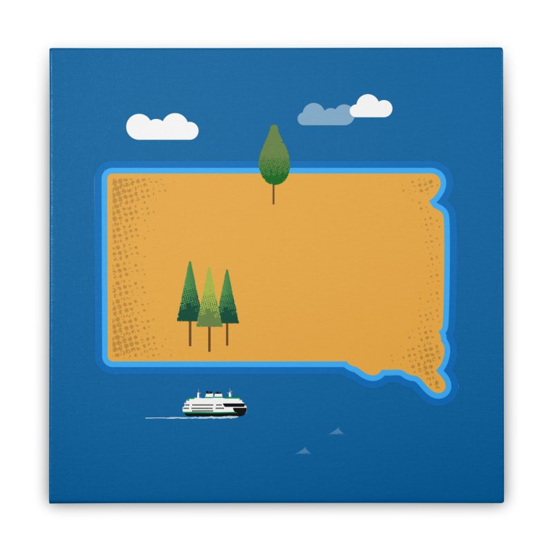 South Dakota island Home Stretched Canvas by Illustrations by Phil