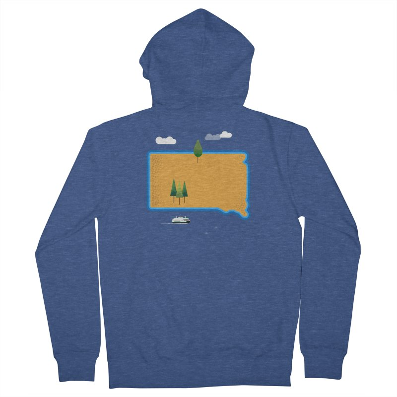 South Dakota island Women's French Terry Zip-Up Hoody by Illustrations by Phil