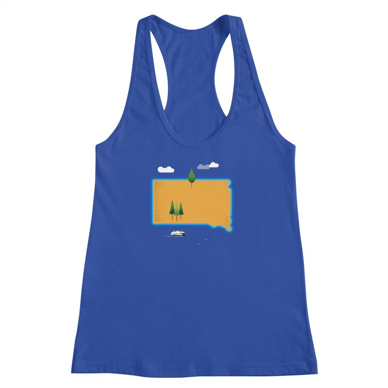 South Dakota island Women's Racerback Tank by Illustrations by Phil