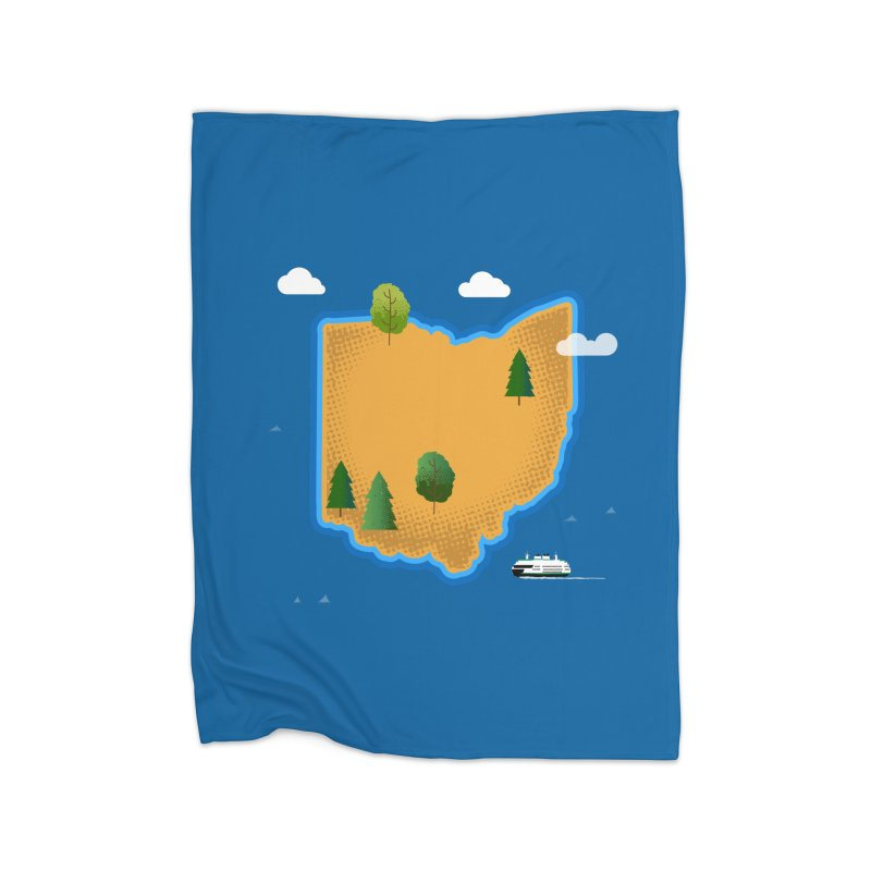 Ohio Island Home Blanket by Illustrations by Phil