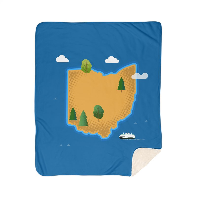 Ohio Island Home Sherpa Blanket Blanket by Illustrations by Phil
