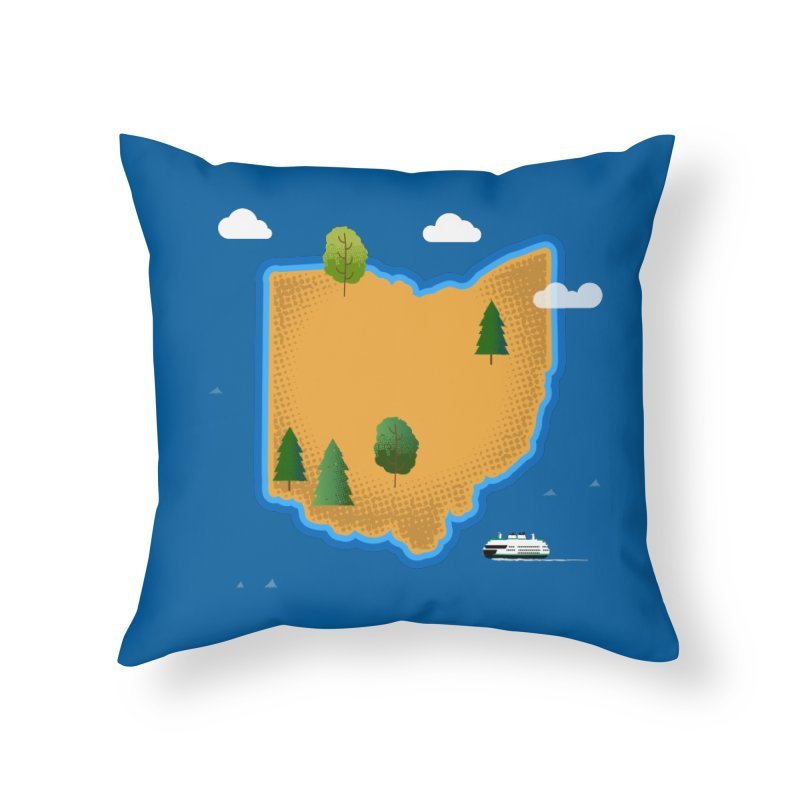 Ohio Island Home Throw Pillow by Illustrations by Phil