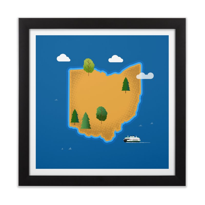 Ohio Island Home Framed Fine Art Print by Illustrations by Phil