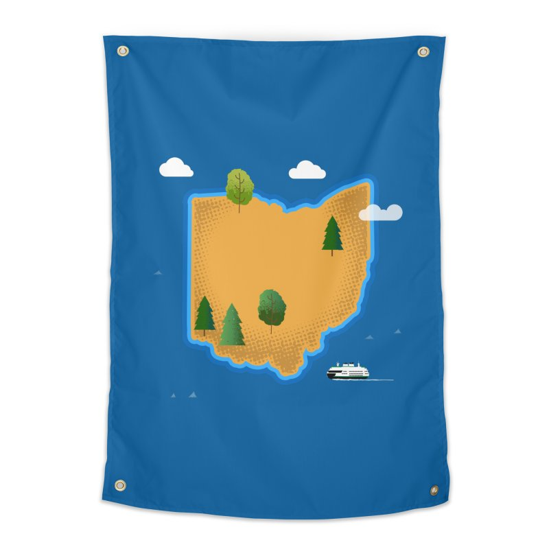Ohio Island Home Tapestry by Illustrations by Phil