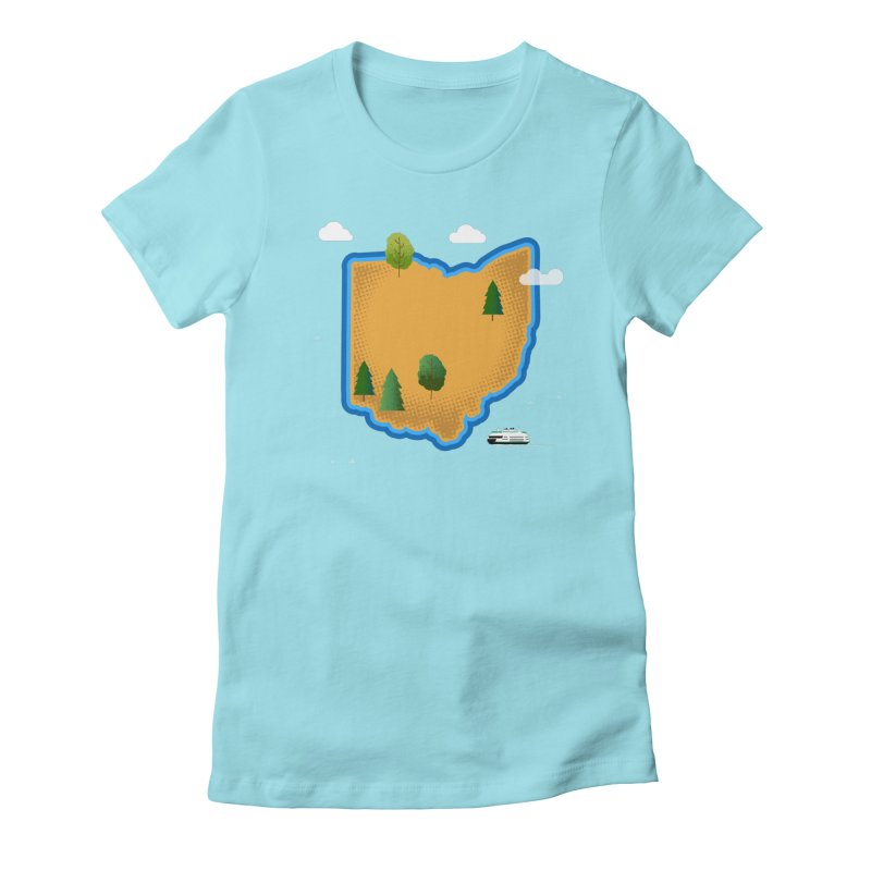 Ohio Island Women's Fitted T-Shirt by Illustrations by Phil