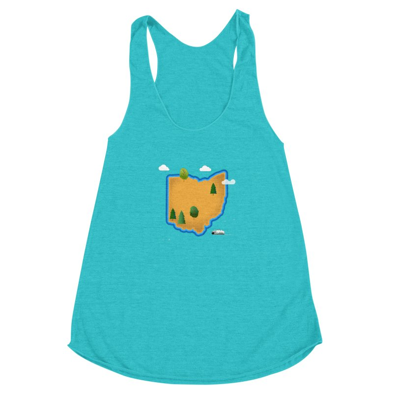 Ohio Island Women's Racerback Triblend Tank by Illustrations by Phil