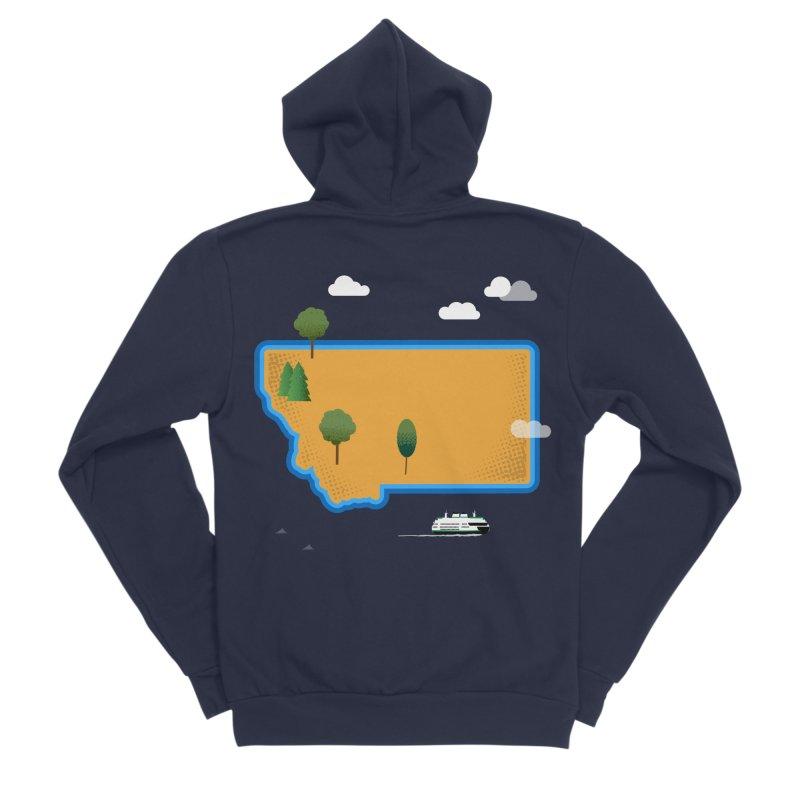 Montana Island Men's Sponge Fleece Zip-Up Hoody by Illustrations by Phil