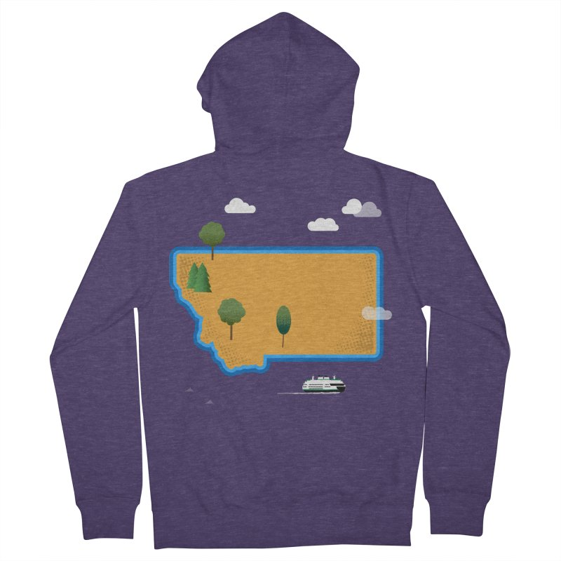 Montana Island Men's French Terry Zip-Up Hoody by Illustrations by Phil