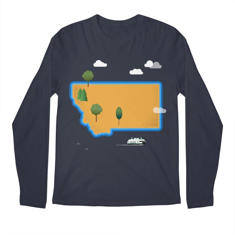 Montana Island Men's Regular Longsleeve T-Shirt by Illustrations by Phil