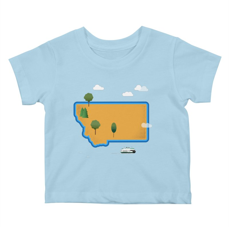 Montana Island Kids Baby T-Shirt by Illustrations by Phil