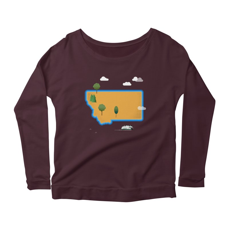 Montana Island Women's Scoop Neck Longsleeve T-Shirt by Illustrations by Phil