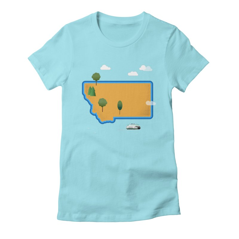 Montana Island Women's Fitted T-Shirt by Illustrations by Phil