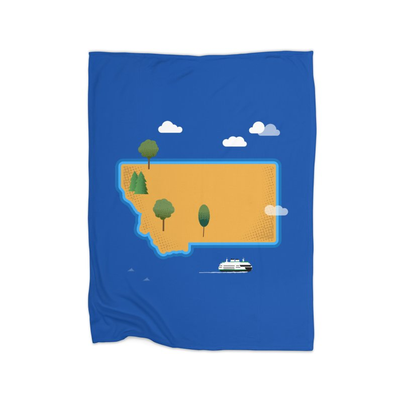 Montana Island Home Blanket by Illustrations by Phil