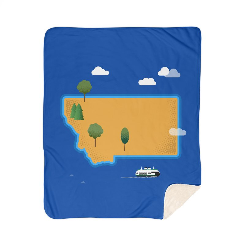 Montana Island Home Sherpa Blanket Blanket by Illustrations by Phil