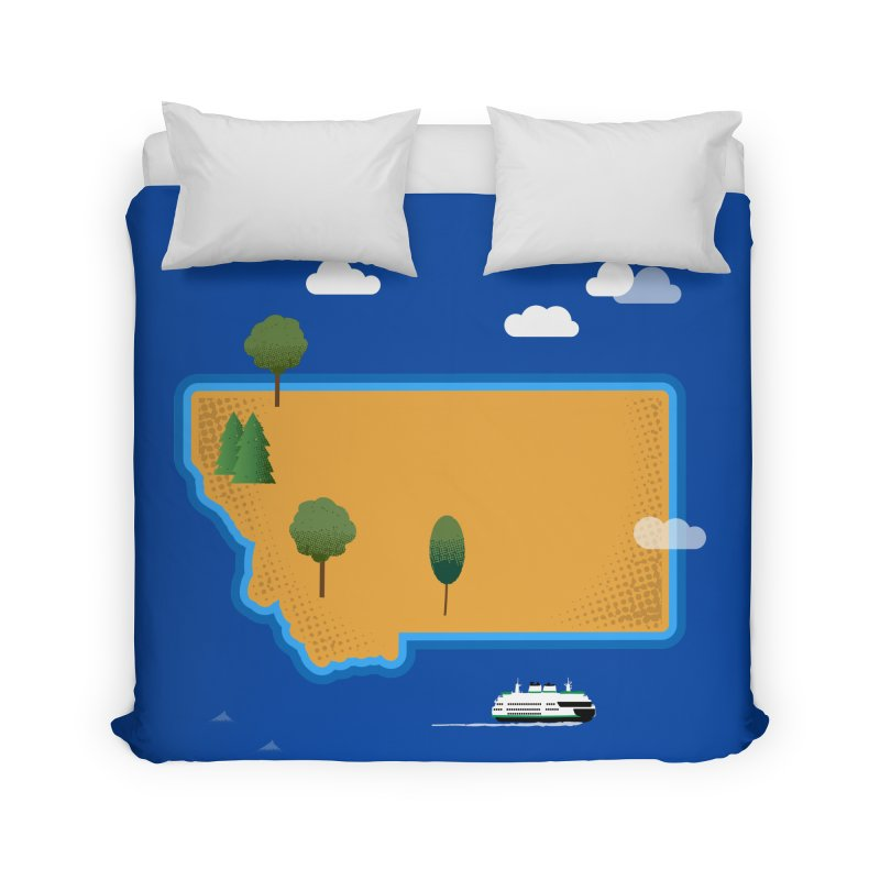 Montana Island Home Duvet by Illustrations by Phil
