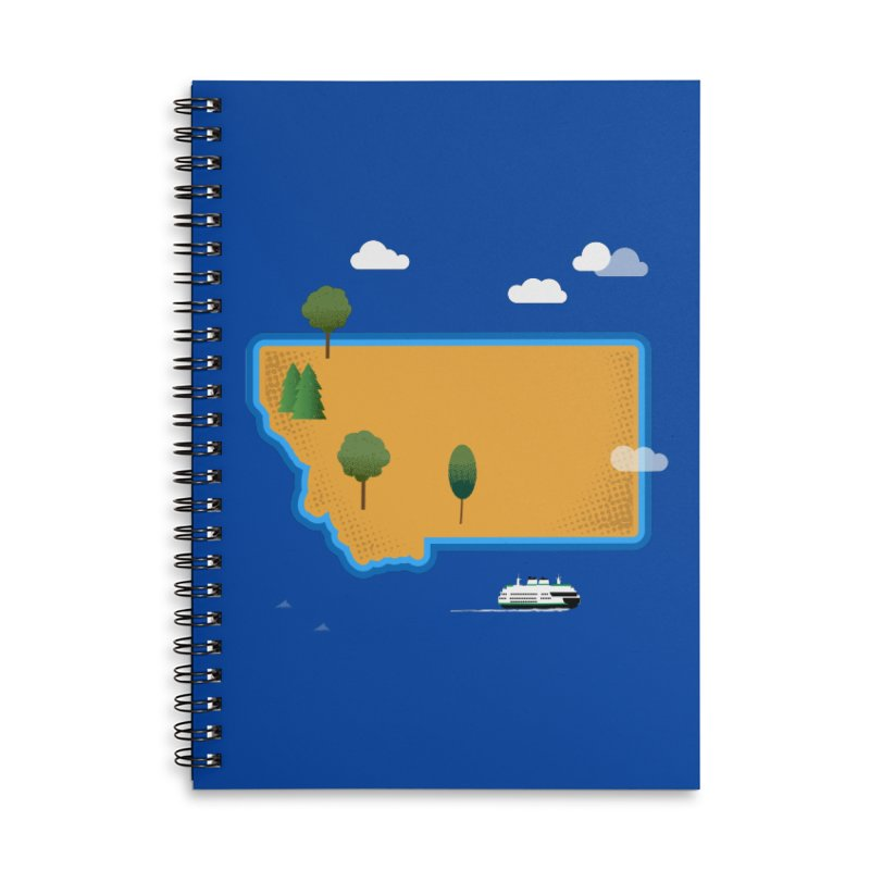 Montana Island Accessories Lined Spiral Notebook by Illustrations by Phil