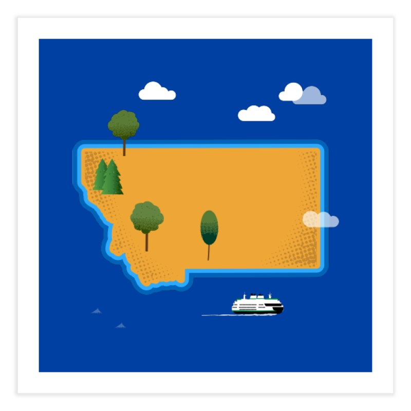 Montana Island Home Fine Art Print by Illustrations by Phil