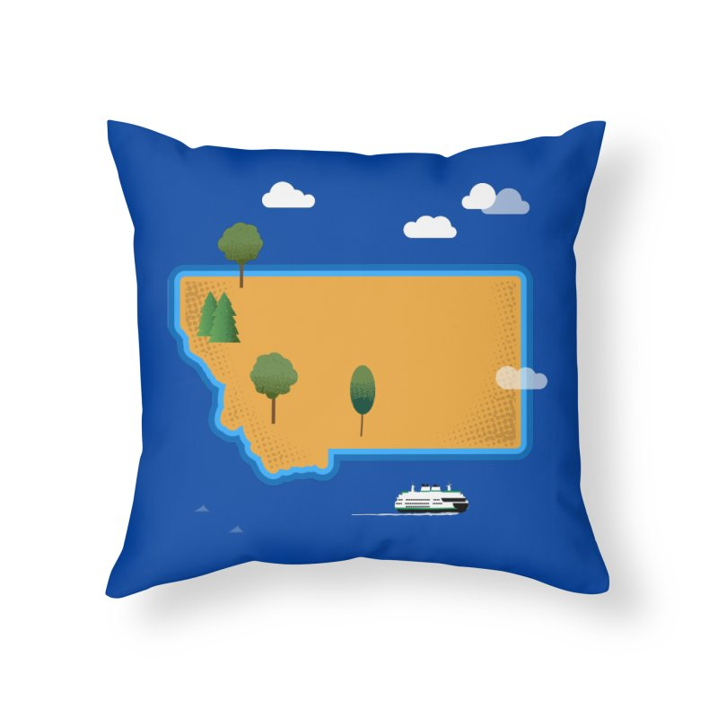 Montana Island Home Throw Pillow by Illustrations by Phil