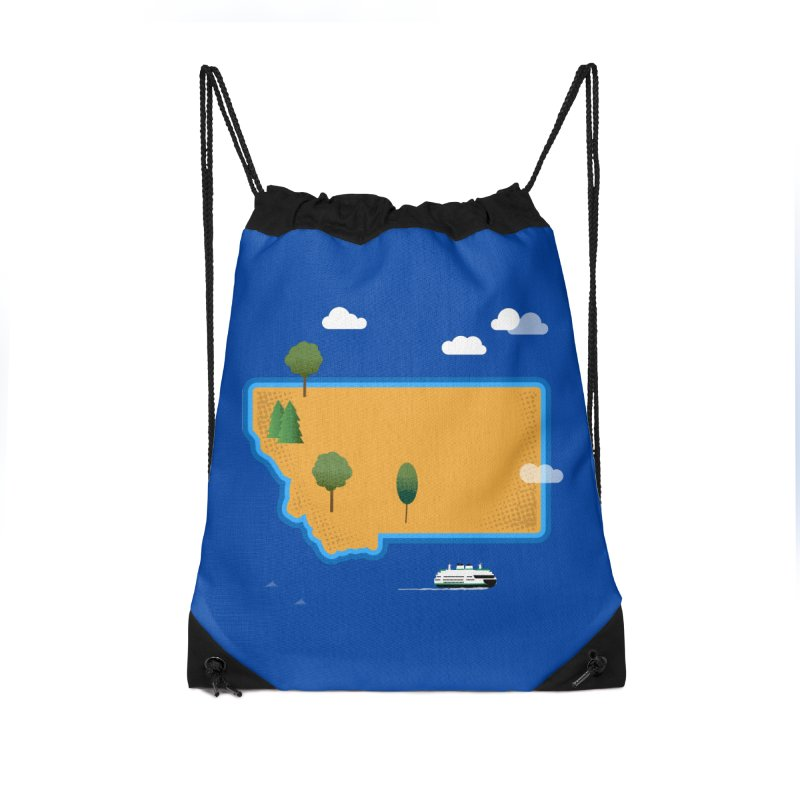 Montana Island Accessories Drawstring Bag Bag by Illustrations by Phil