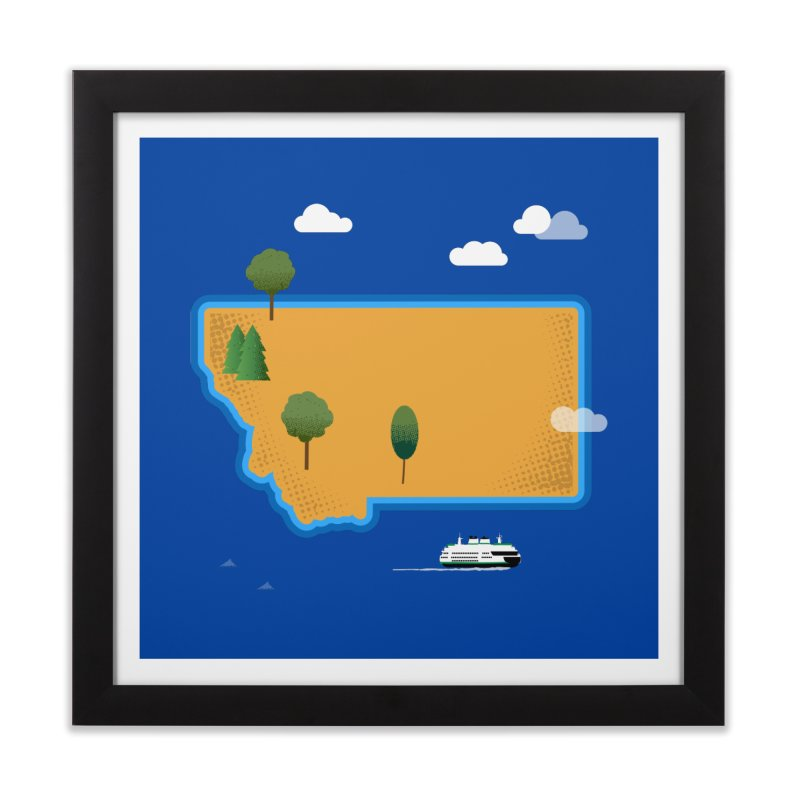 Montana Island Home Framed Fine Art Print by Illustrations by Phil