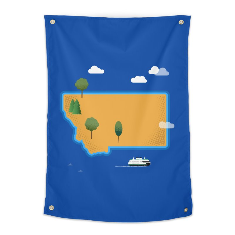 Montana Island Home Tapestry by Illustrations by Phil