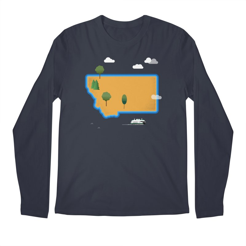 Montana Island Men's Regular Longsleeve T-Shirt by Illustrations by Phil