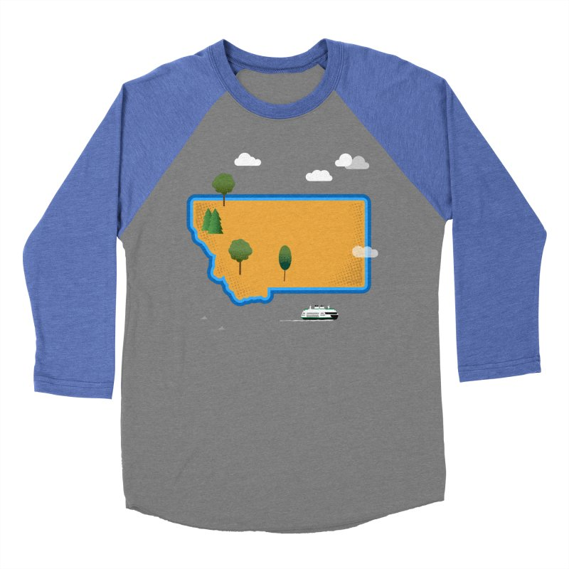 Montana Island Men's Baseball Triblend Longsleeve T-Shirt by Illustrations by Phil