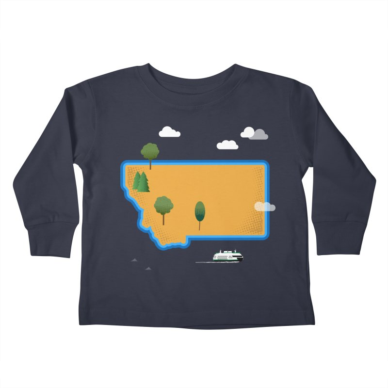 Montana Island Kids Toddler Longsleeve T-Shirt by Illustrations by Phil