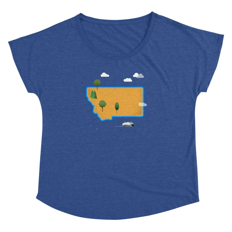 Montana Island Women's Dolman Scoop Neck by Illustrations by Phil