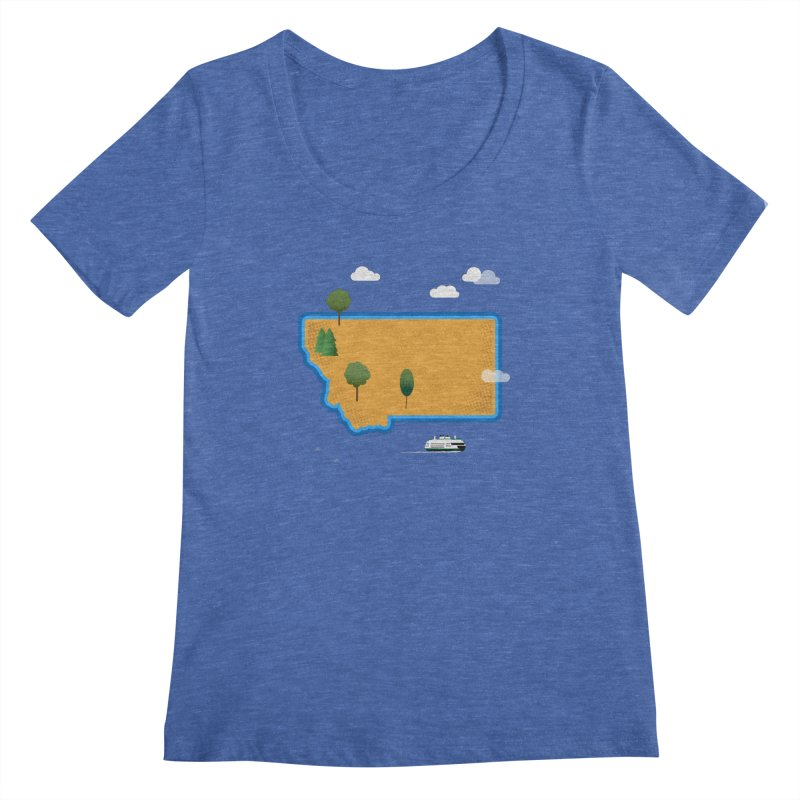 Montana Island Women's Regular Scoop Neck by Illustrations by Phil