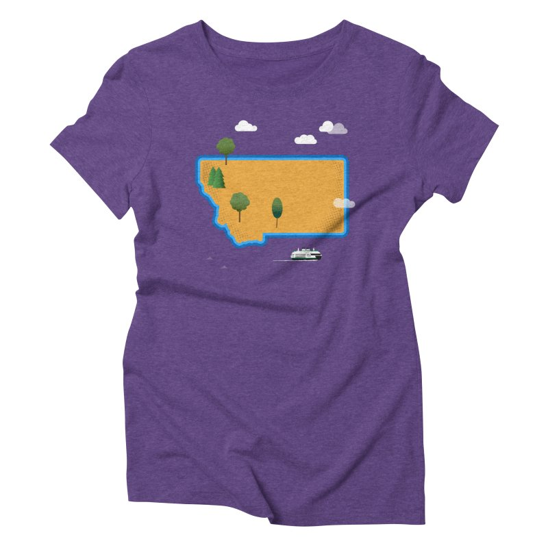 Montana Island Women's Triblend T-Shirt by Illustrations by Phil