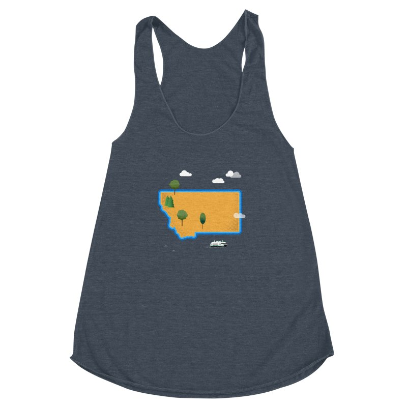 Montana Island Women's Racerback Triblend Tank by Illustrations by Phil