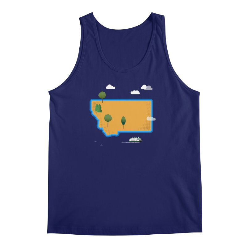 Montana Island Men's Regular Tank by Illustrations by Phil